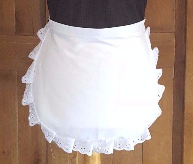 CHILD'S Victorian / Edwardian WAIST White Maids Apron EMBROIDERY  ANGLAISE TRIM