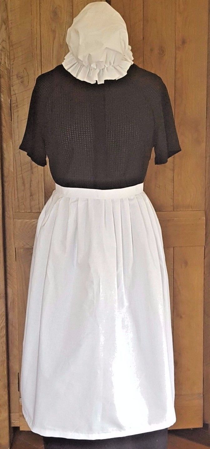 LADIES VICTORIAN TUDOR EDWARDIAN POOR  MAID WAIST APRON & MOP CAP fancy dress