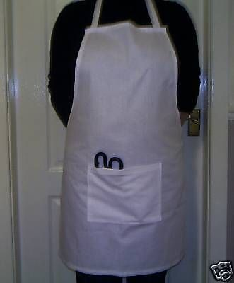 White full cotton apron chef large pocket matching straps